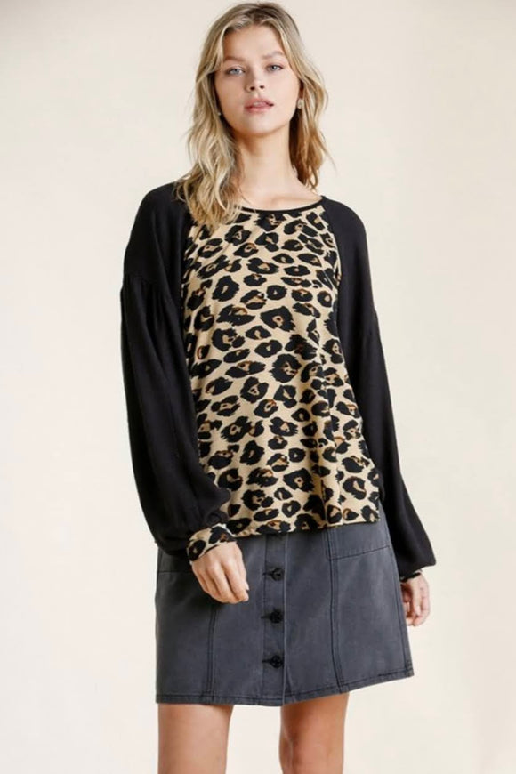 Black+Leopard Balloon Sleeve Top