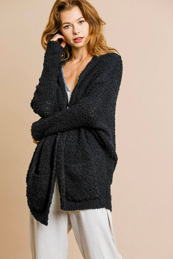 Cozy Popcorn Cardigan | Black