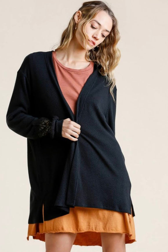Lace Detail Waffle Knit Cardigan | Black