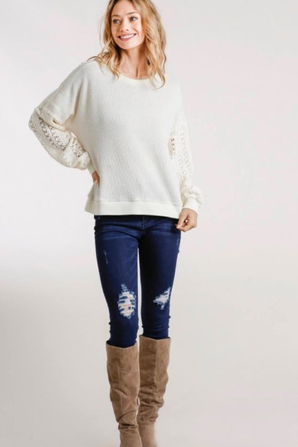 Cream Crochet Detail Sweater