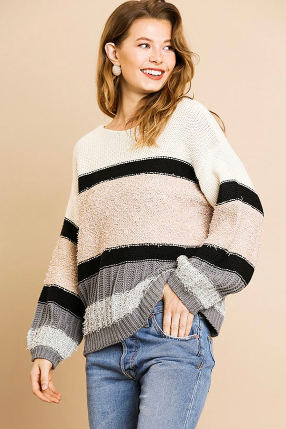 Grey+Taupe Stripe Sweater