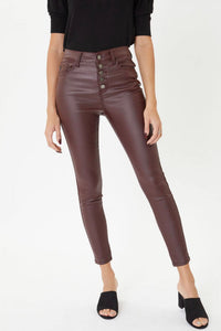 The Night Out | Burgundy Faux Leather Pants | KanCan
