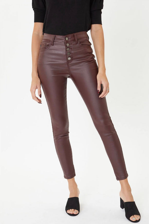 KanCan Burgundy Faux Leather Pants