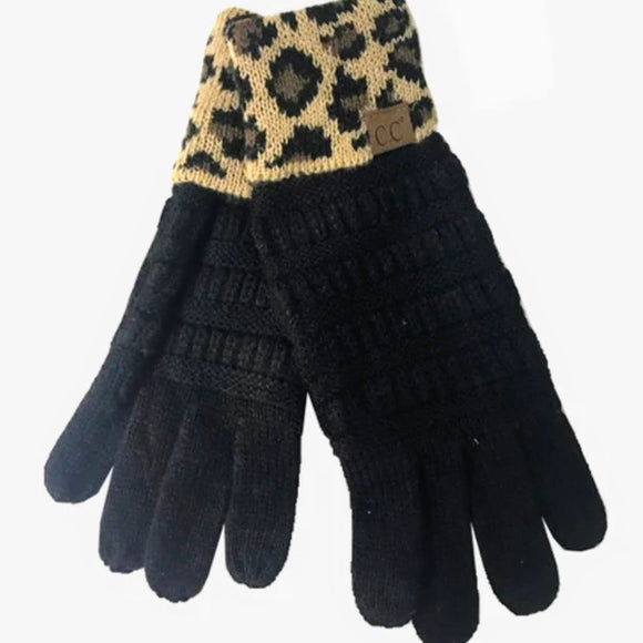 C.C. Solid Knit Smart Touch Gloves | Black+Leopard