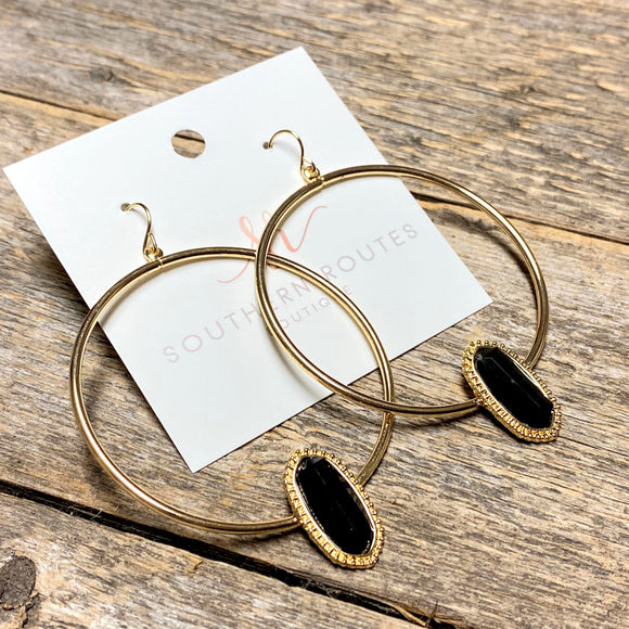 Black Stone+Gold Hoop Earrings