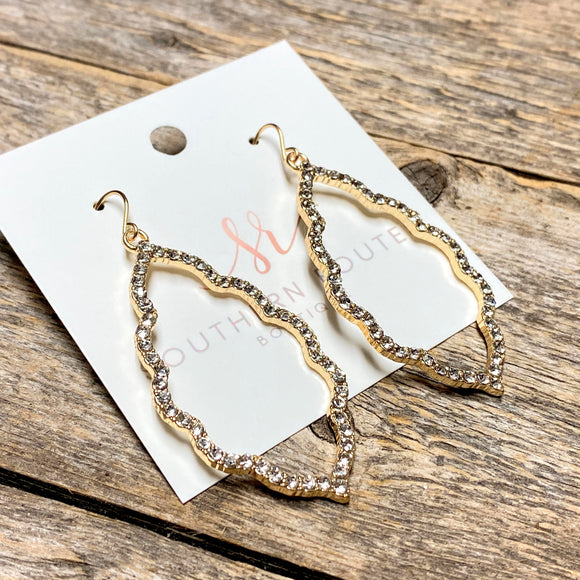 Crystal Filigree Earrings | Gold