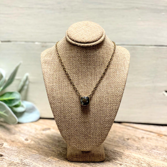 Black Crystal | Bronze Necklace | Pink Panache