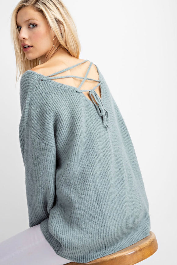 Back Tie Detail Slouchy Sweater | Mint