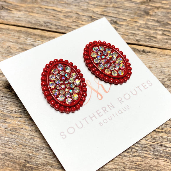 Large Oval Stud Earrings | Red+Iridescent