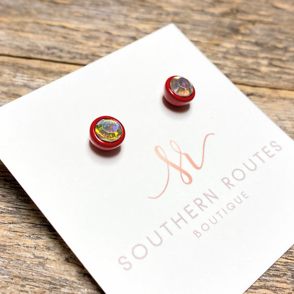 Crystal Stud Earrings | Red+Iridescent