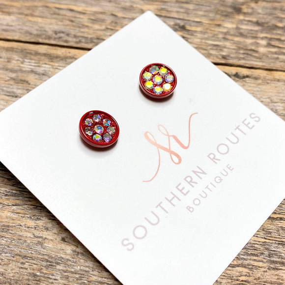 Crystal Cluster Stud Earrings | Red+Iridescent