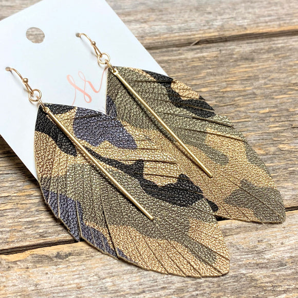 Camo Leather Fringe+Gold Bar Earrings | Gold