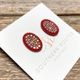 Oval Crystal Stud Earrings | Red+Iridescent