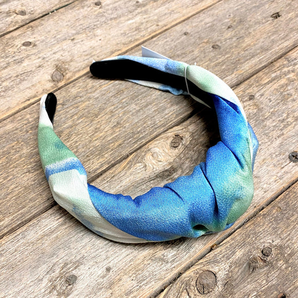 Satin Knotted Headband | Blue+Green Tie Dye