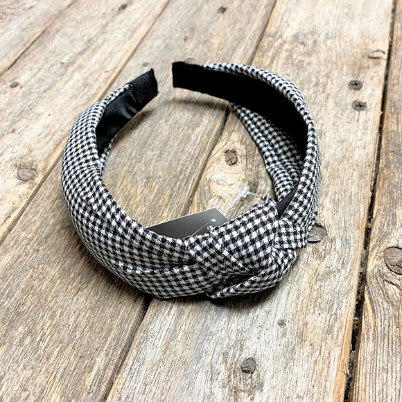 Knotted Headband | Black Gingham