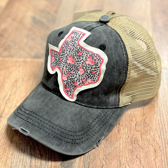 Rose+Leopard Texas Patch Cap | Charcoal | High Ponytail