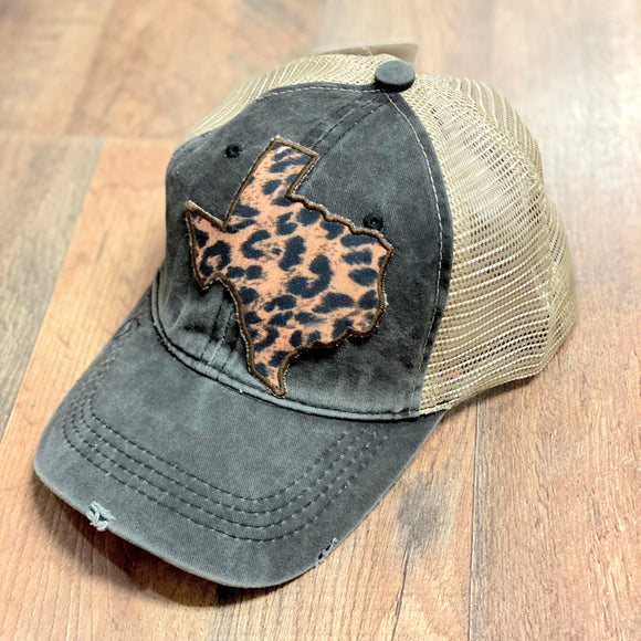 Leopard Texas Patch Cap | Charcoal | High Ponytail