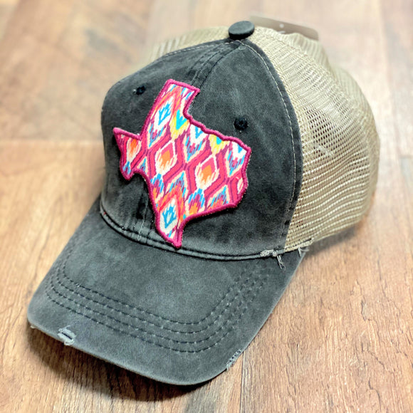 Aztec Texas Patch Cap | Charcoal | High Ponytail