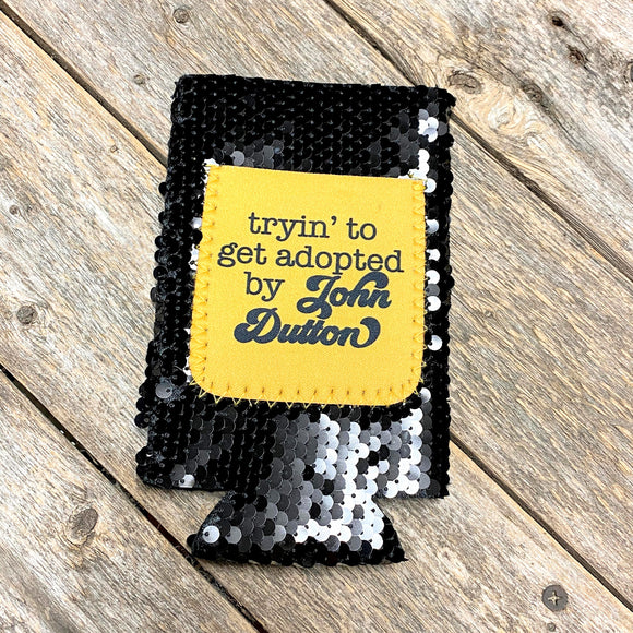 Sequin Tall Slim Can Koozie | John Dutton