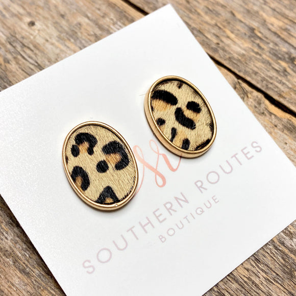 Leopard Cougar Bubble Stud Earrings