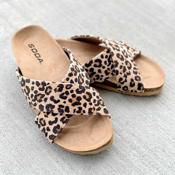 Leopard Criss Cross Slides