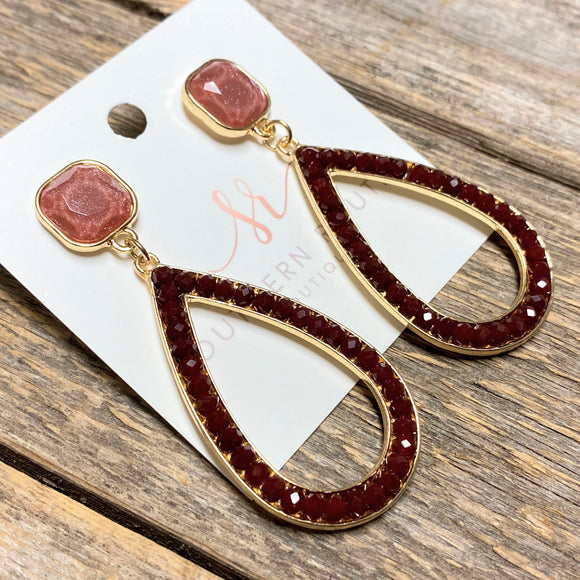 Beveled Glass+Beaded Teardrop Earrings | Burgundy
