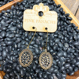 Oval Bronze+Black Crystal Dangle Earrings | Pink Panache