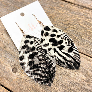 Leather Fringe Earrings | White+Black Leopard