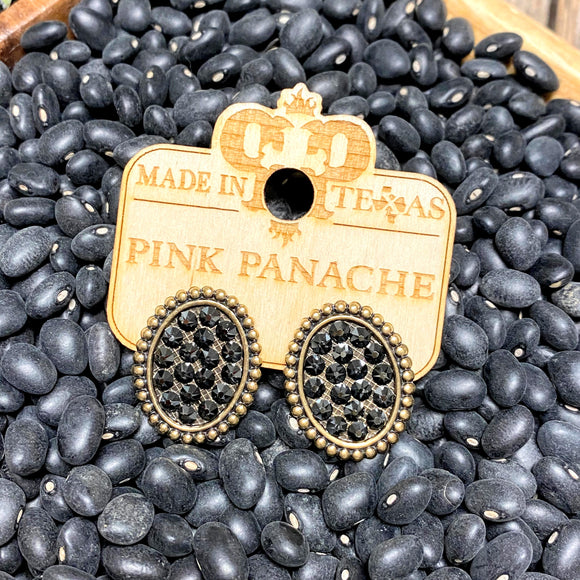 Oval Bronze+Black Crystal Stud Earrings | Pink Panache