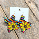 Seed Bead Texas Earrings | Serape Sunflower