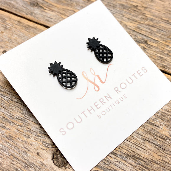 Pineapple Stud Earrings | Black