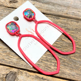 AB Crystal | Modern Earrings | Neon Pink