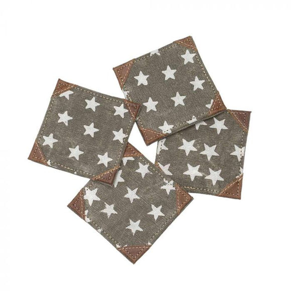 Canvas+Leather Coaster Set | Freedom Star