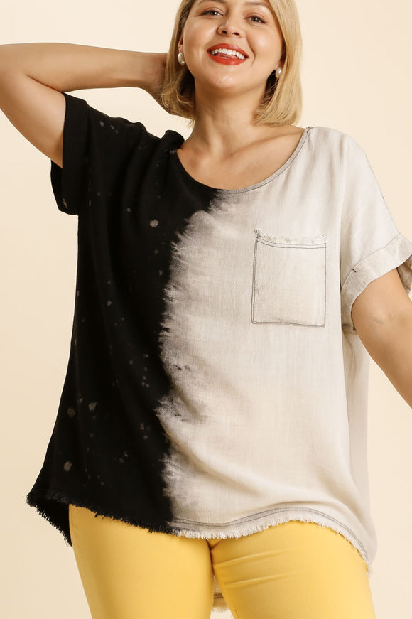 Black Dip Dye Linen Top