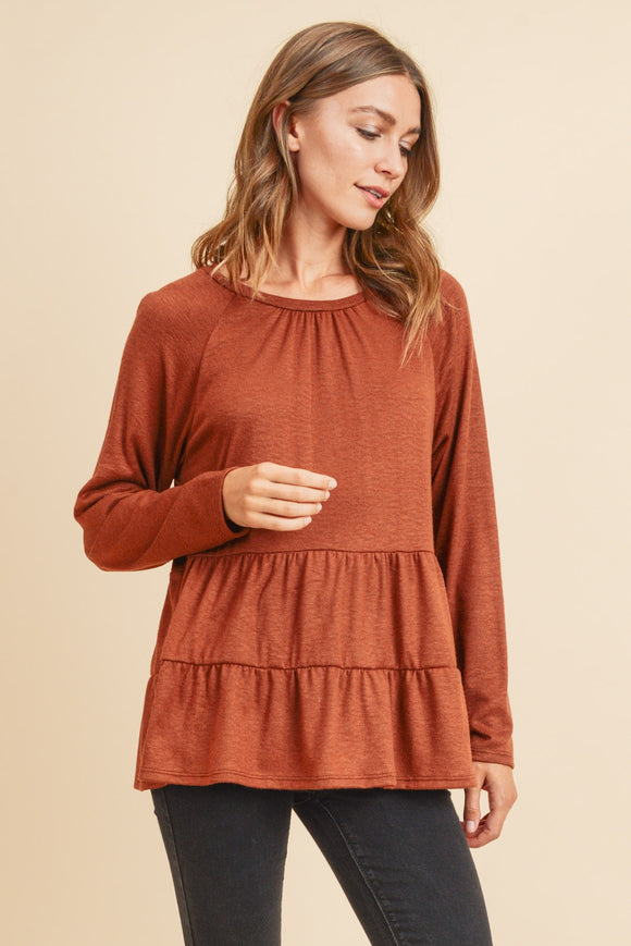 Chestnut Ruffle Top