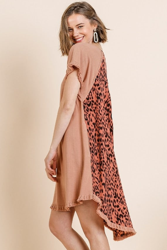 Canyon Clay Leopard Linen Fishtail Dress