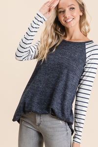 Navy+Stripe Top
