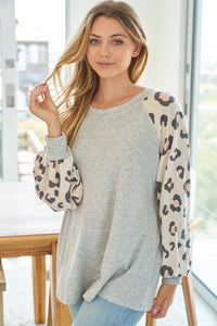Blush+Heather Grey Leopard Top