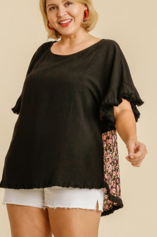 Linen Blend Floral Top | Black
