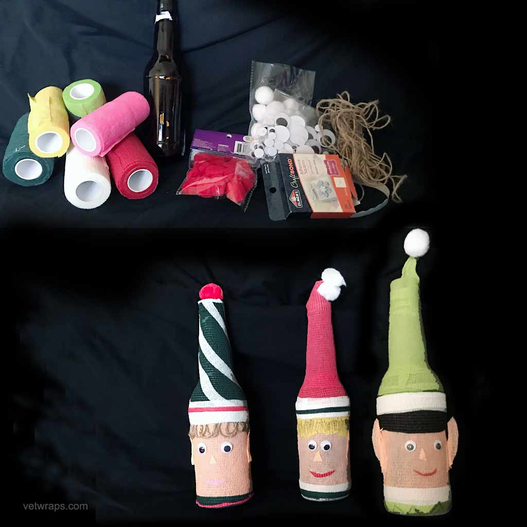 Christmas Elves made from long-neck beer bottles and WildCow Vet Wrap