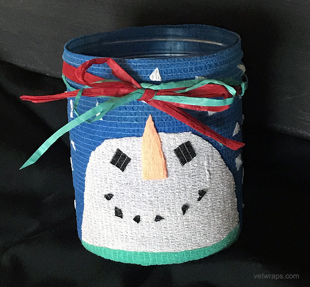 Jar Snowman created with Talenti Ice Cream Container and WildCow Vet Wrap