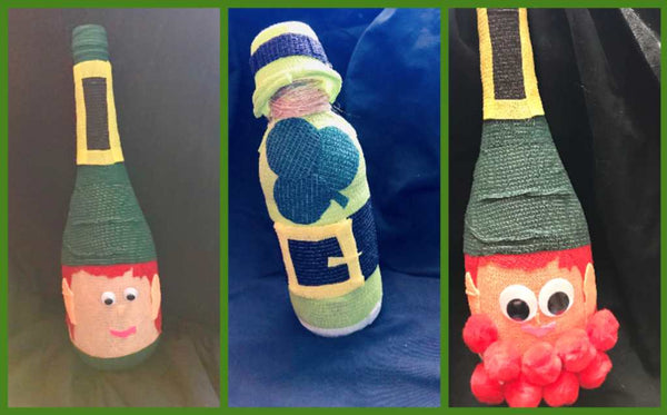 Leprechauns made with wine bottles and vet wrap