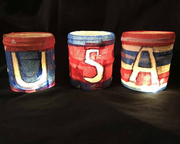 Independence Day Lights crafts created with WildCow Vet Wrap