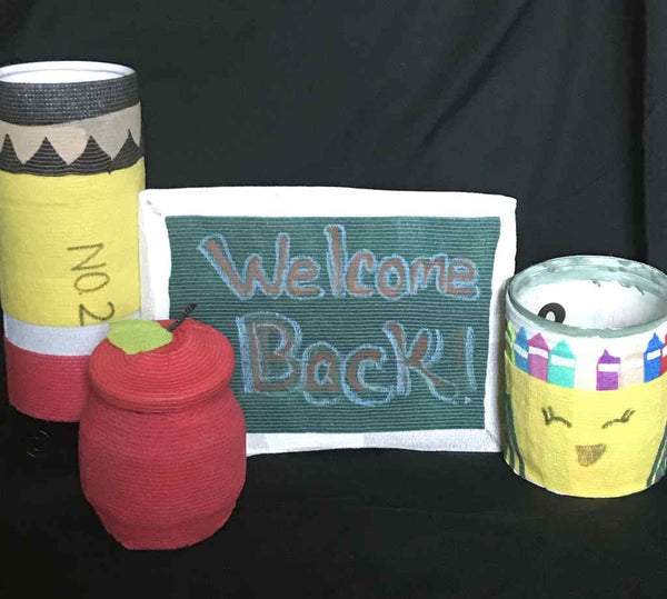 Back to school vet wrap project featuring welcome sign, apple, apple, pencil and crayon box