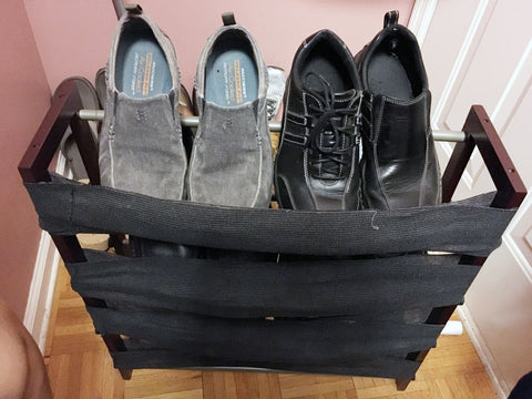 Shoe rack backbored wrapped with black vet wrap