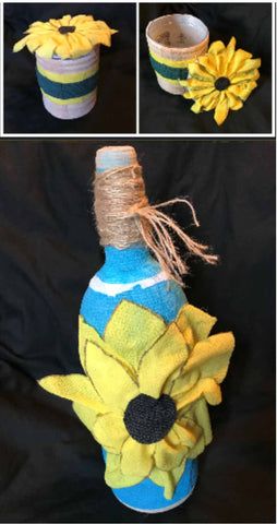 Sunflowers made from bottles and WildCow Vet Wrap