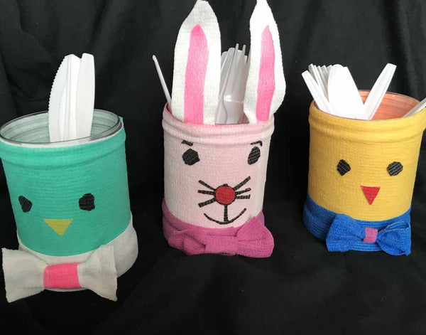 Easter Utensil Buckets made with WildCow vet wrap