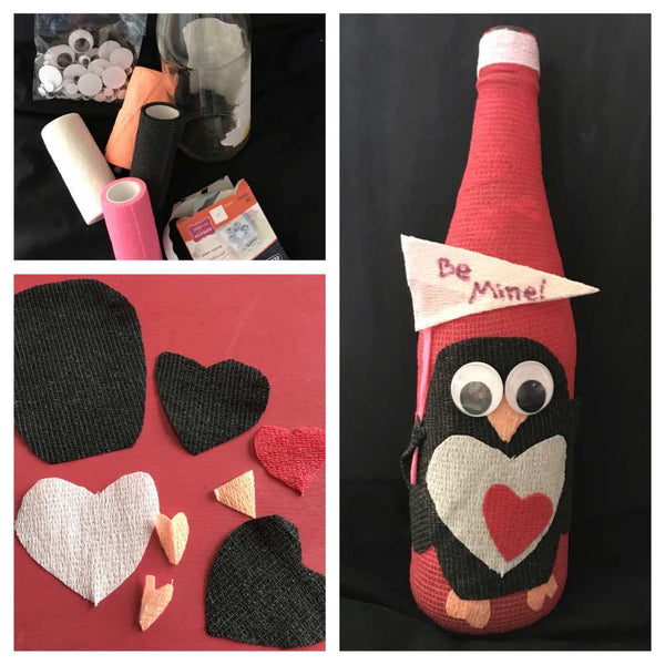 Valentine wine bottles made with red, white and black vet wrap