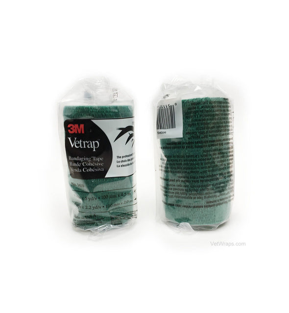 3M Hunter Green Vetrap Bandage Tape 4 Inch - 18 Rolls