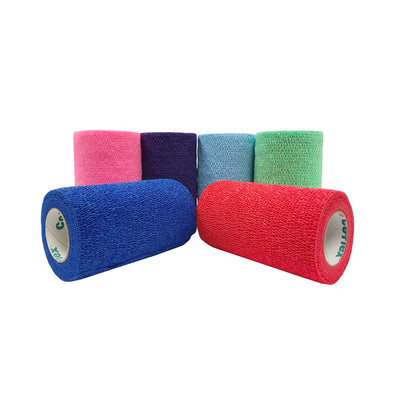 Andover CoFlex Vet Cohesive Bandage Color Pack (neon pink, blue, purple, light blue, neon green, red rolls).